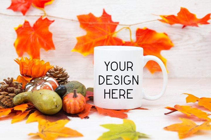 11 Oz Blank White Coffee Cup with White Handle Mug Mockup