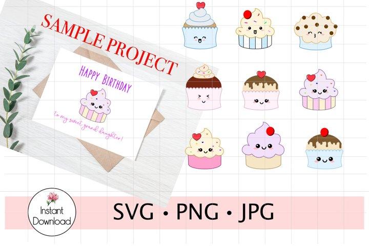 Cupcake Bundle SVG, Kawaii Cupcakes Clip Art