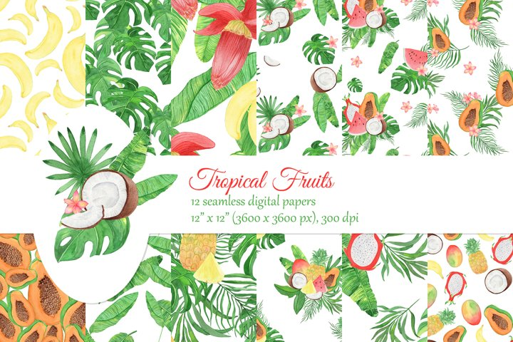 Watercolor tropical fruits digital papers. Palm leaves