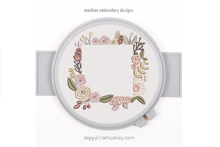 Square Floral Frame for Monogram in 5 sizes