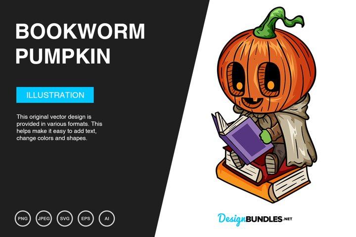 Bookworm Pumpkin Vector Illustration