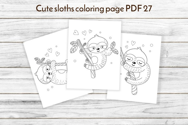 Sloth coloring pages PDF 27