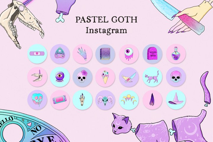 Pastel Goth Instagram Story Highlight Covers, Mystical Cover