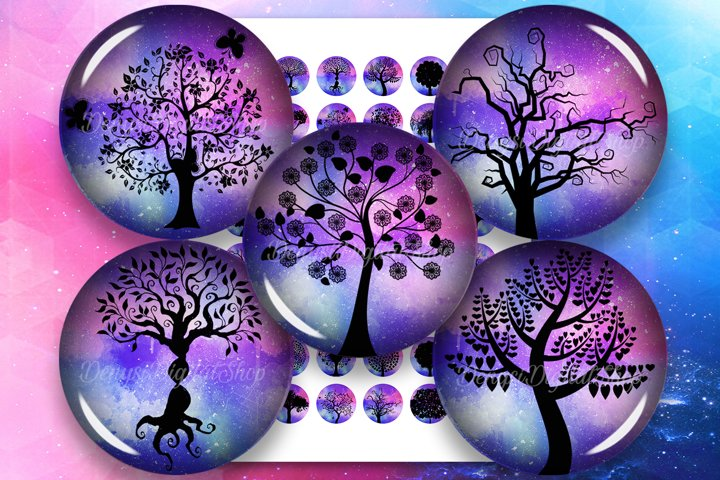 Tree Silhouettes,Tree of Life Printable Circles,Tree Round