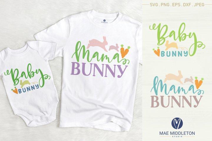 Mama Bunny, Baby Bunny - Easter svg cut files, printables