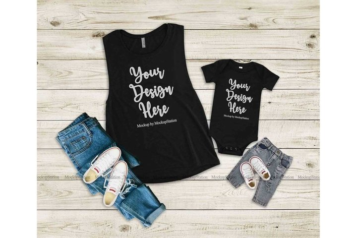 Bella Canvas 3001 100B Mommy And Me Matching Tee Mockup