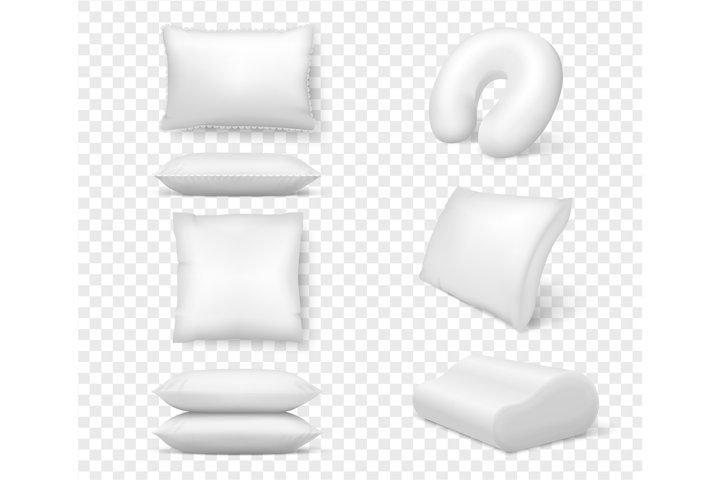 Realistic white pillows. Vector 3d comfortable cushion squar