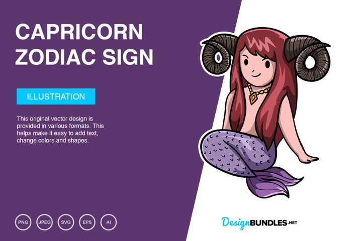 Capricorn Zodiac Sign Vector Illustration