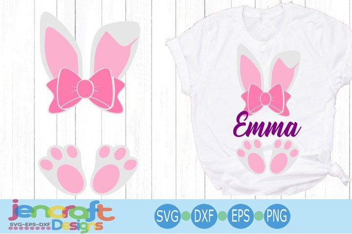 Easter Bunny Ears Feet Svg, Easter Monogram Svg