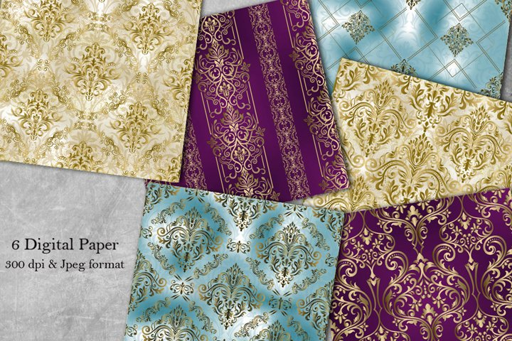 Collection of 8 seamless damask patterns. Digital Paper.