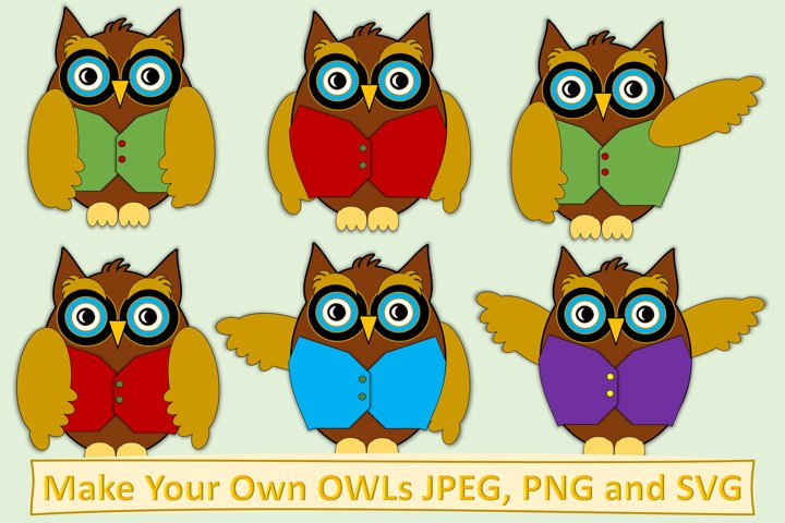 School Owls Clipart and Make Your Own Kit PNG SVG JPEG PDF