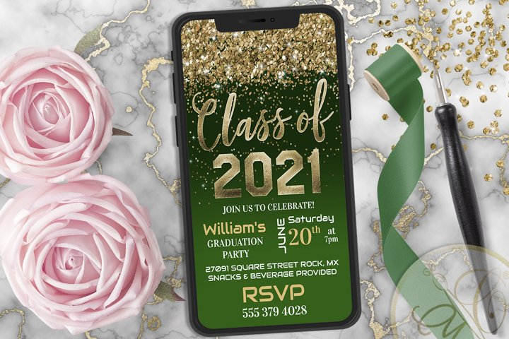Green Graduation Phone Invitation, Class of 2021