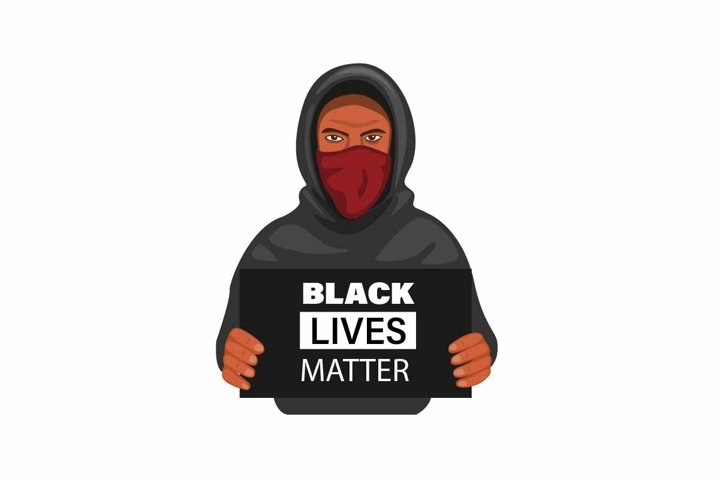 Protester man wear hoddie and mask holding sign board vector