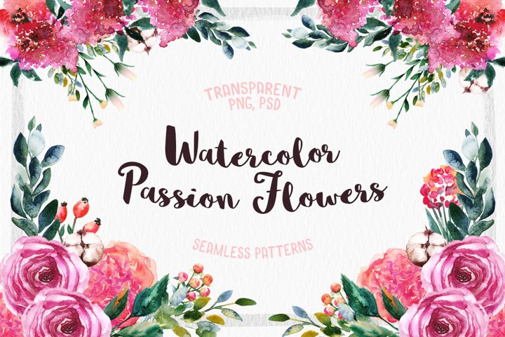 Watercolor Passion Flowers