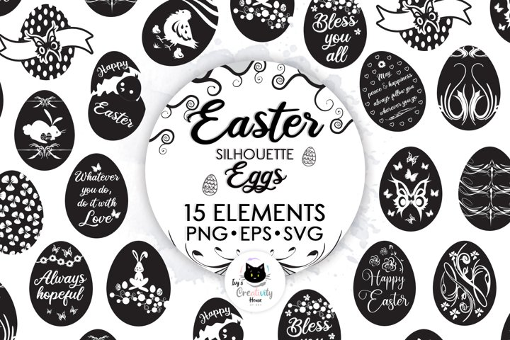 Happy Easter SVG Cut Files | Easter Egg Silhouette Clipart