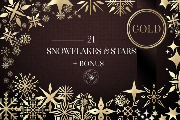Gold Snowflakes Stars Foil Metallic Festive Elements Logo