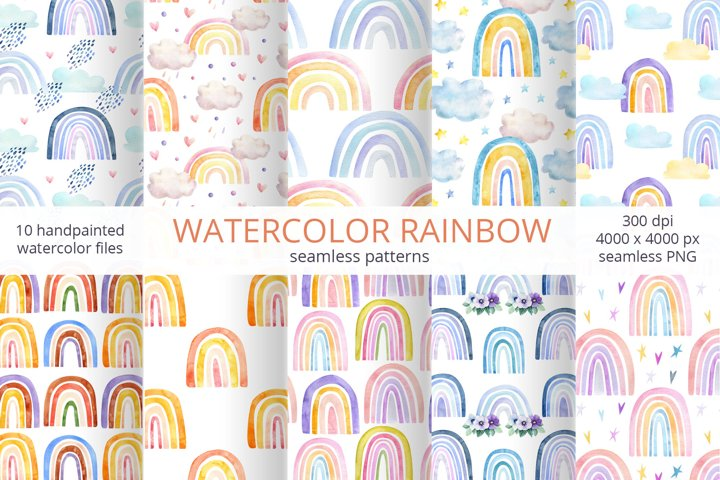 Watercolor Seamless Rainbow Patterns