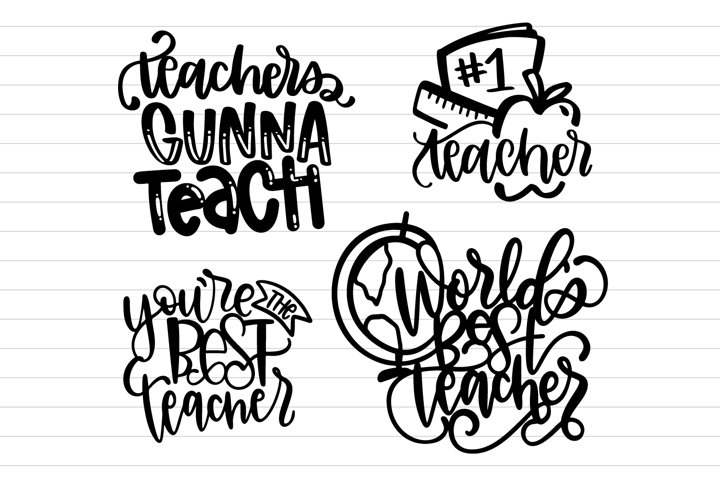 Teacher Hand Lettered SVG Bundle - 4 Pack Of Cutting Files