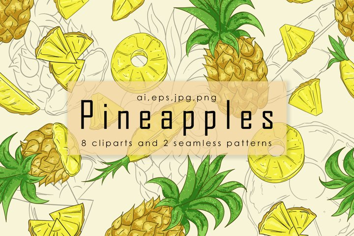 Pineapple clipart and patterns