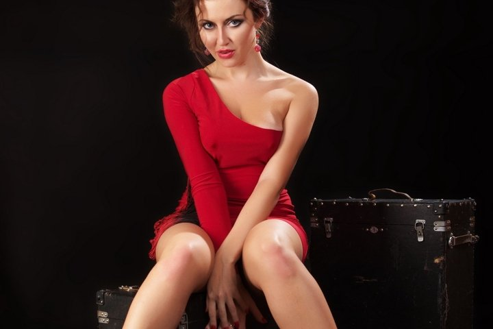girl, red, dress, brunette, sexy, suitcase, black
