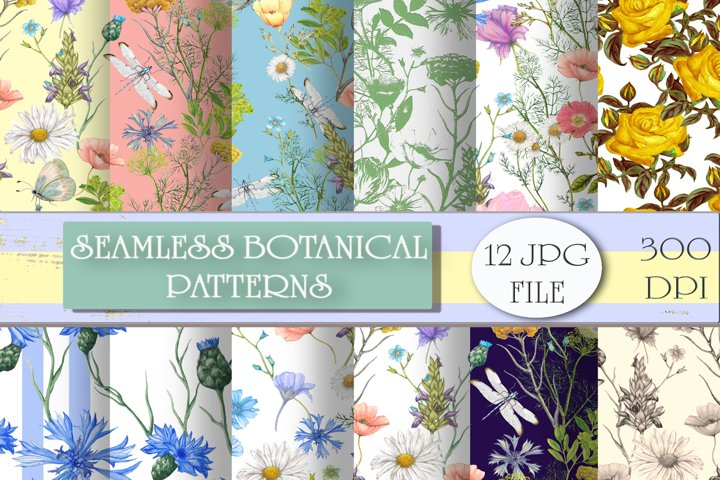 Hand drawn botanical seamless patterns set