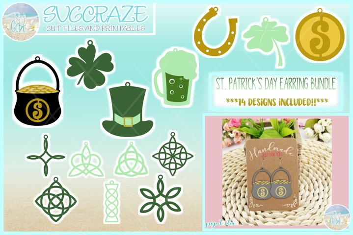 St Patricks Day Faux Leather Earring Necklace Pendant SVG