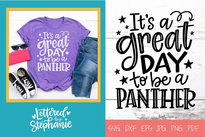 Handlettered SVG DXF, Panther School Mascot