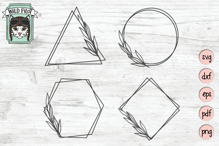 Leaf Frame SVG file, Leaf Border, Monogram Frame, Shapes