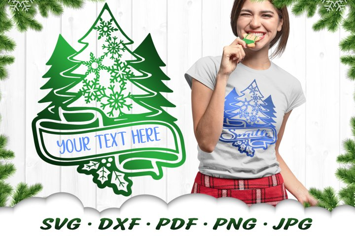 Customizable Family Christmas Tree SVG DXF Cut Files