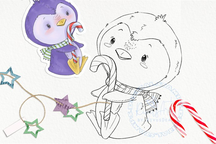 Christmas Digital stamp - Cute penguin with candy coloring