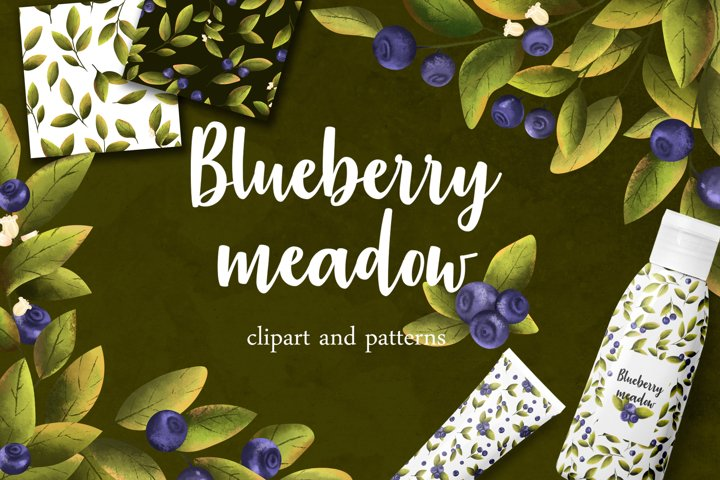 Blueberry meadow clipart, patterns.