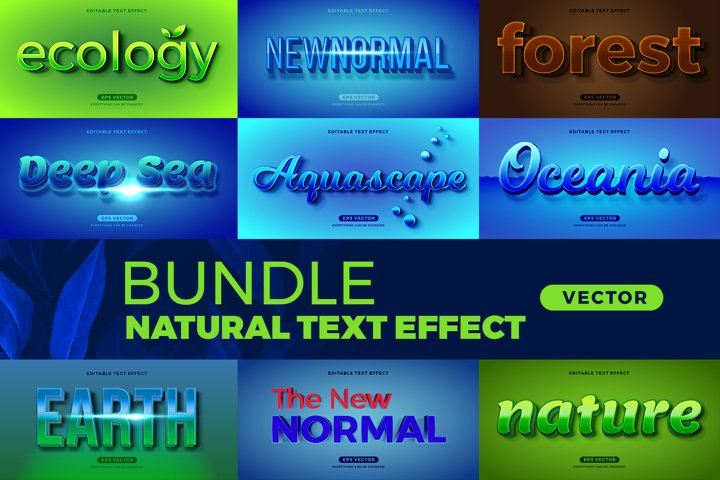 Bundle Natural editable font effect text vector