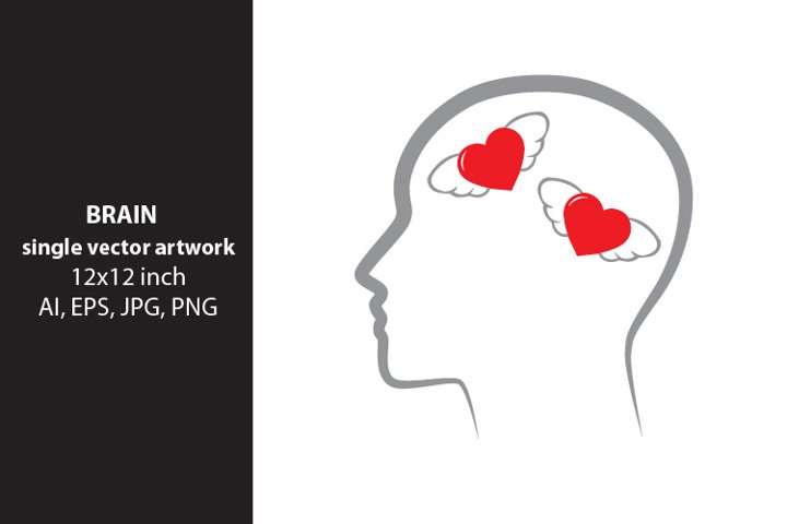 brain and hearts , vector