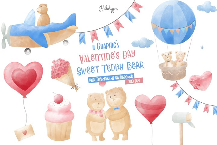 Valentines Day Sweet Teddy Bear Bundles Clipart
