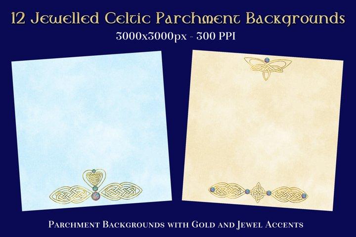 12 Jewelled Celtic Parchment Backgrounds Textures Set