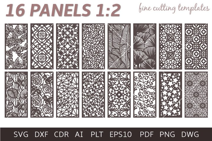 16 Grill Panel Patterned Digital Templates SVG DXF Eps Png