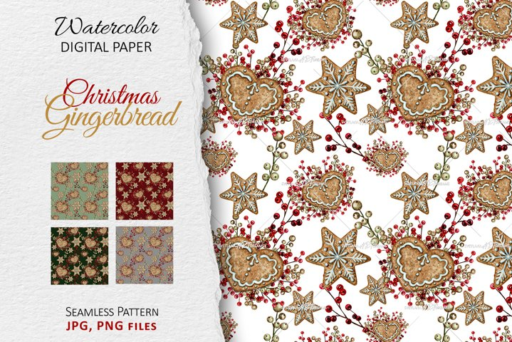 Watercolor Christmas Gingerbread cookies Seamless patterns
