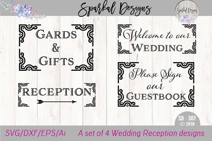 WEDDING BUNDLE - A Set of Four Reception Sign SVG Designs