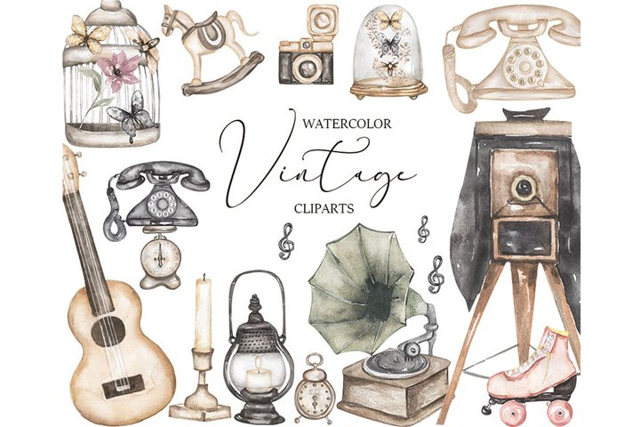 Watercolor Vintage Clipart