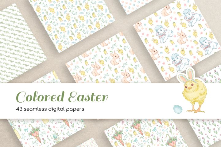 43 Colored Easter Seamless Digital Papers for Crafts, Fabric