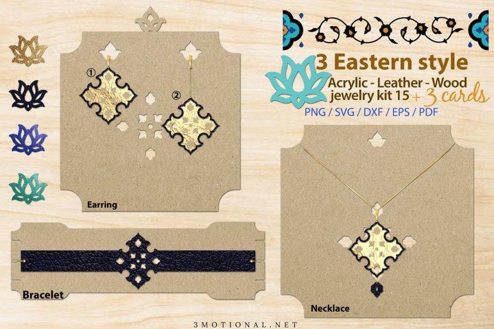 Eastern style acrylic leather wood jewelry kit 15