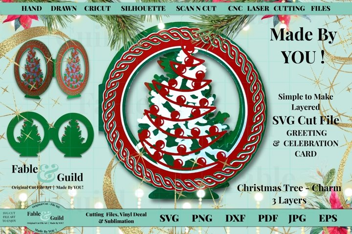 Christmas Card SVG Tree Baubles 3D Layered Fun Cutting Files