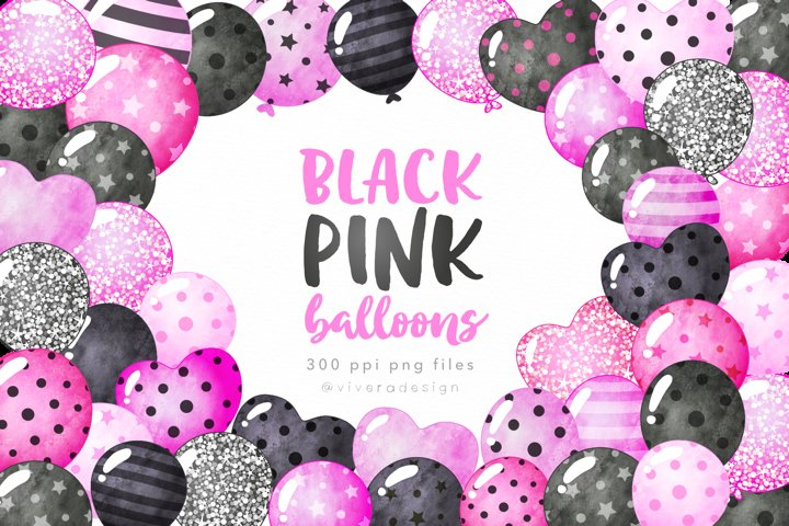 Black and Pink Watercolor Balloon Clipart