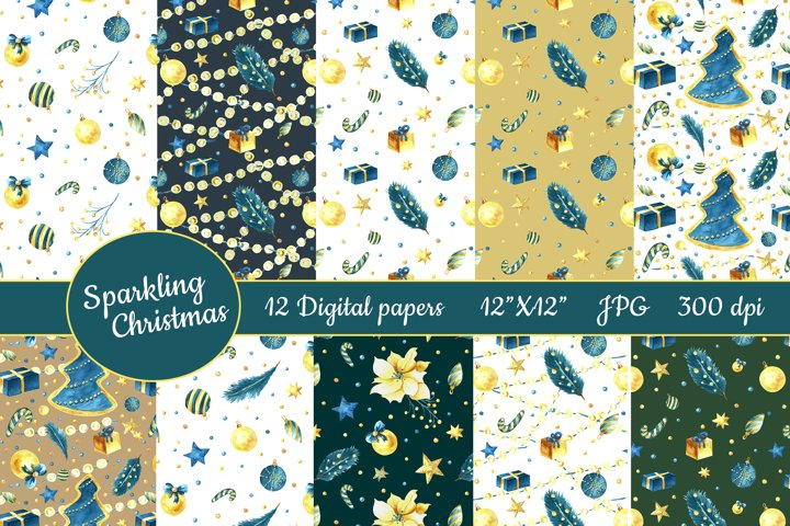 Christmas watercolor digital paper. 12 semless patterns