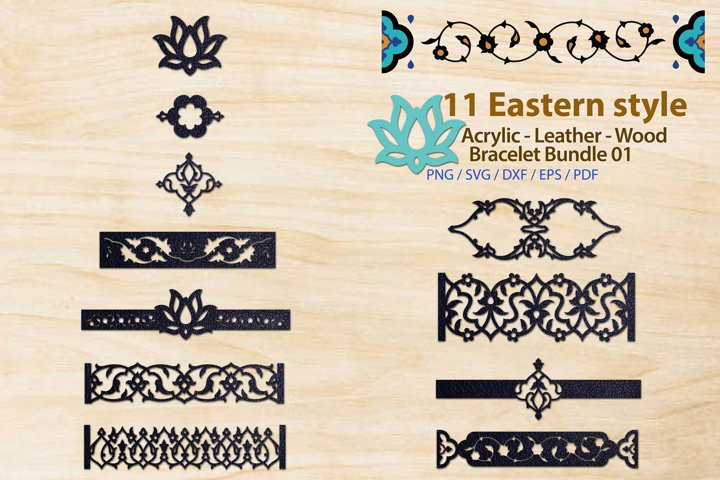 Eastern style Acrylic Leather Wood Bracelet Bundle 01
