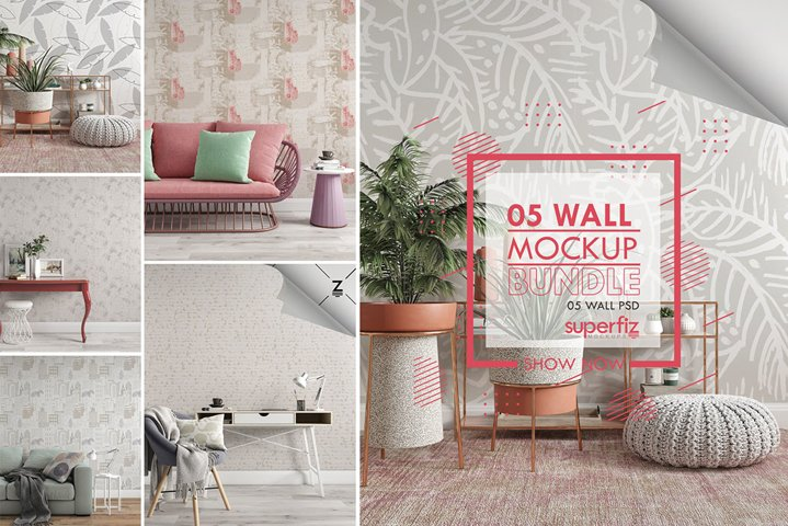 Wallpaper Mockup Bundle SM21PACK - 5PSD SCENE