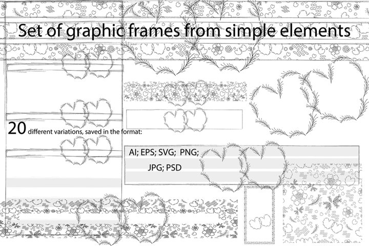Hearts and seamless pattern from simple elements