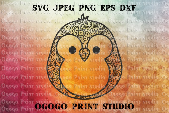 Penguin SVG, Zentangle SVG, Mandala svg, Sea animal svg