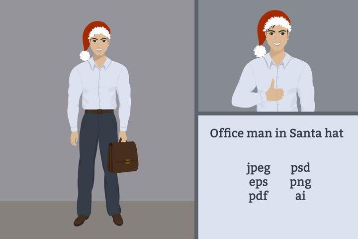 Office man in Santa hat
