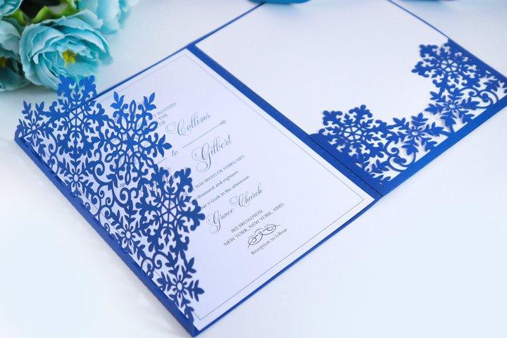 Laser cut wedding invitation, 5x7, Cricut Template, Tri Fold